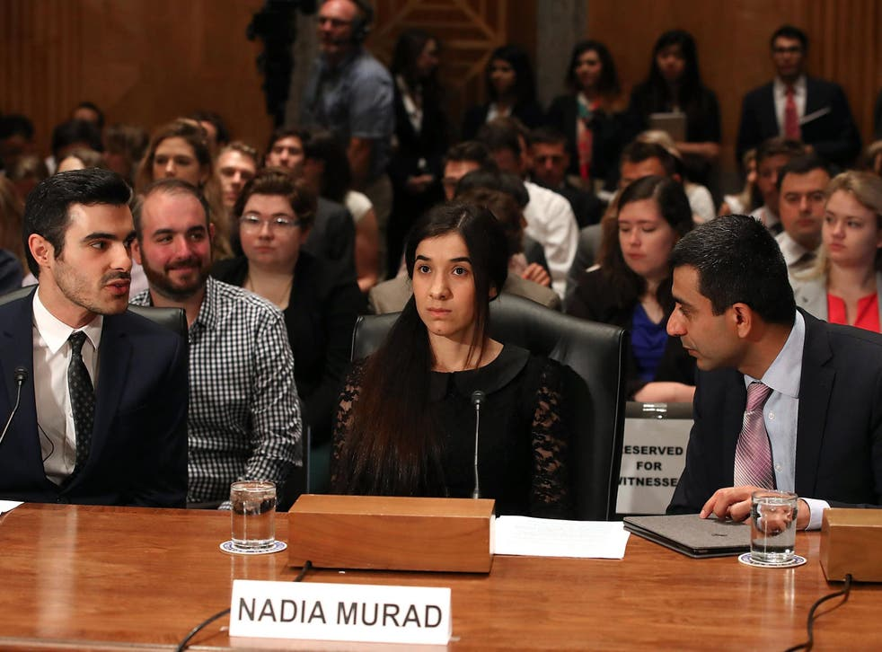 """Ms Murad says she was taken to Mosul with 150 other girls where they were scrutinised by fighters and forced to """"marry"""" them"""
