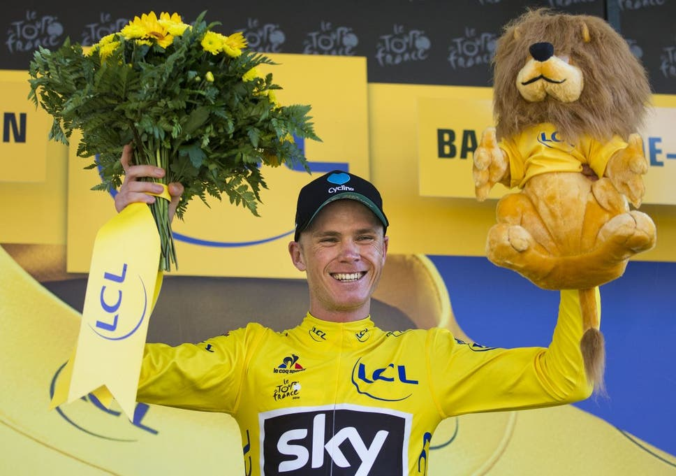 1b140c0ce Chris Froome celebrates his stage eight victory to claim the leader s yellow  jersey
