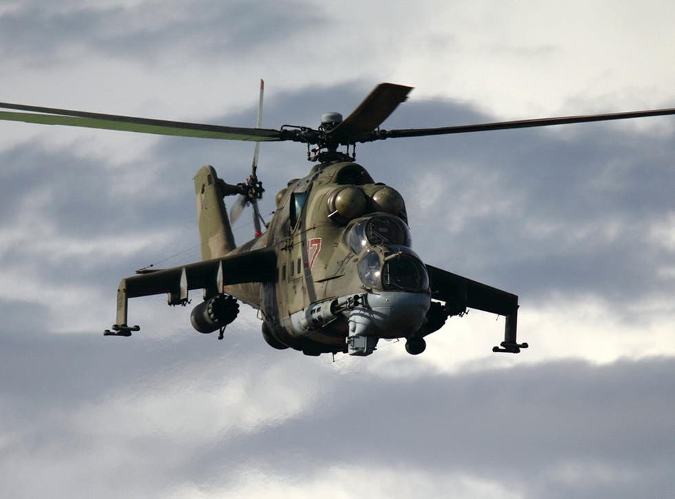 An Mi-24 helicopter, similar to the one shot down by Isis militants near Palmyra, Syria