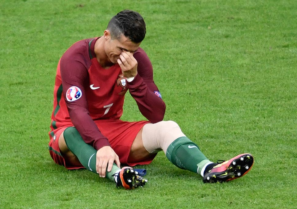 Cristiano Ronaldo cries after injury forces him off during the Euro 2016  final 83e268a2675fe