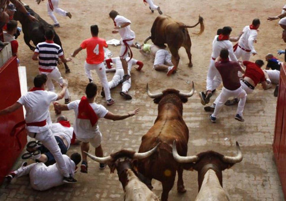 Pamplona Bull Run Three Men Gored In Head Scrotum And