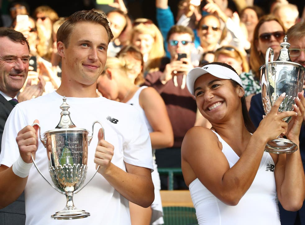 Heather Watson won the Wimbledon mixed doubles with Henri Kontinen