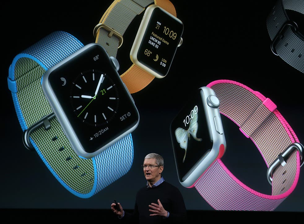 Apple CEO Tim Cook speaks about the Apple Watch during a special event at the company's headquarters in California in March, 2016