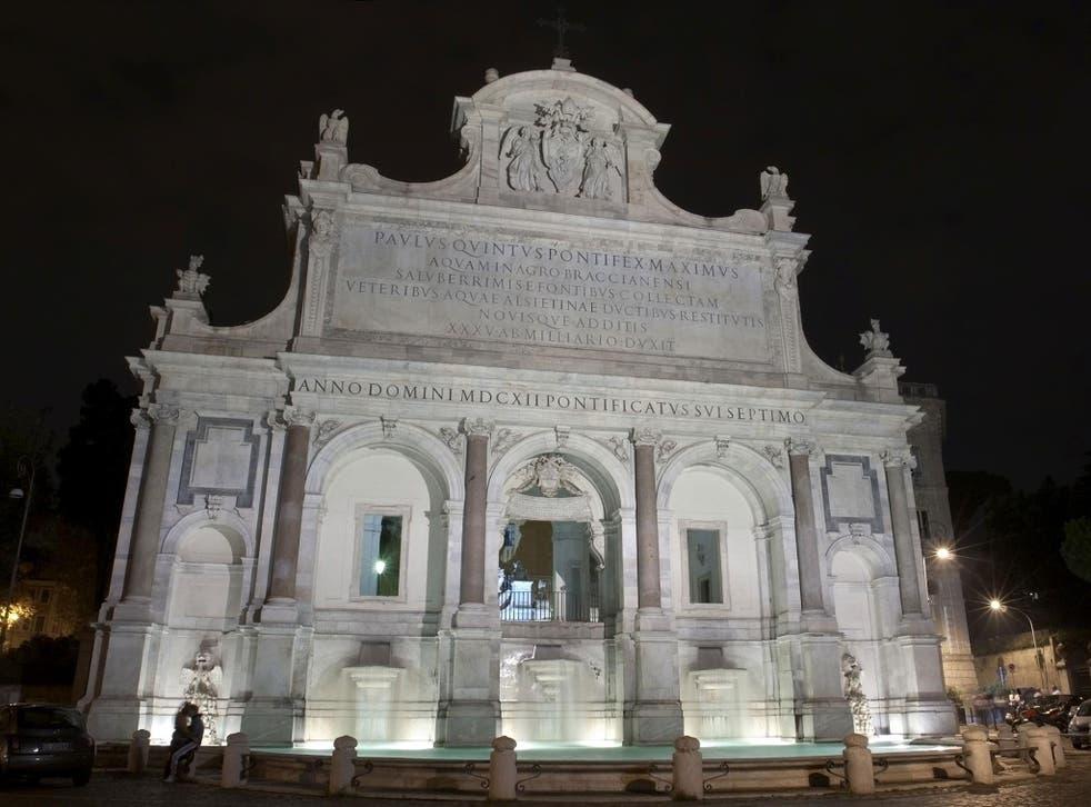 Fontana dell'Acqua Paola, Fontana Paola, Fontanone del Gianicolo, or simply il Fontanone, on the Janiculum hill, Rome