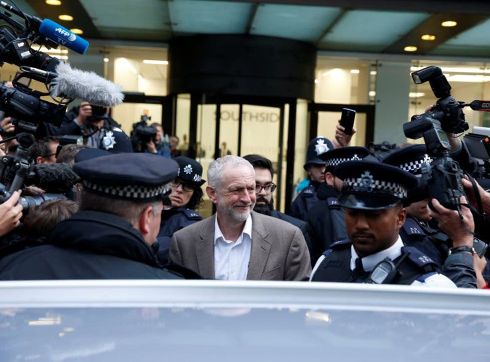 Jeremy Corbyn leaving a meeting of the National Executive Committee in central London last night