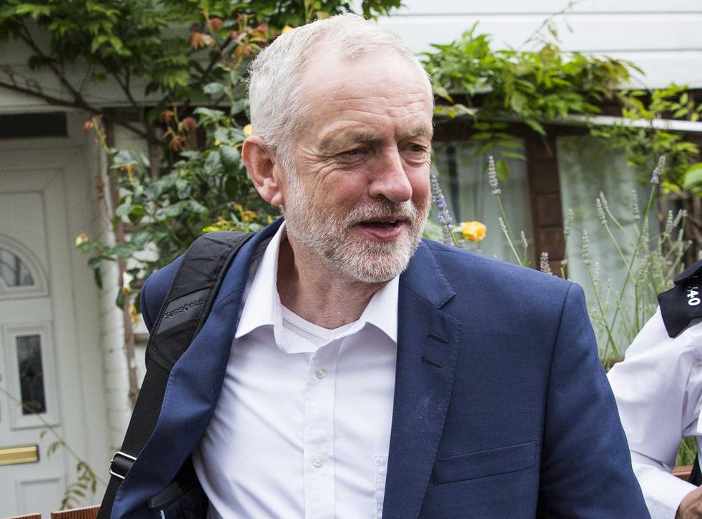 Labour leader Jeremy Corbyn leaving his home in Islington