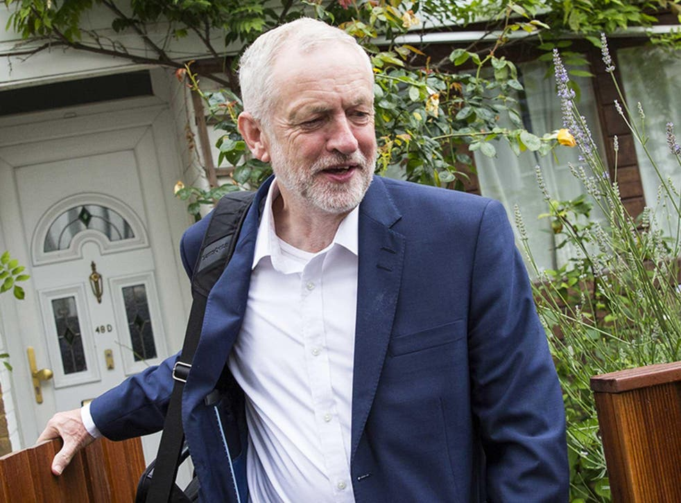 Labour leader Jeremy Corbyn leaves his home in Islington. The Labour Party can no longer win a general election if they go it alone