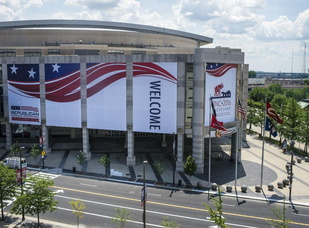 The Quicken Loans Arena is dressed up for the Convention