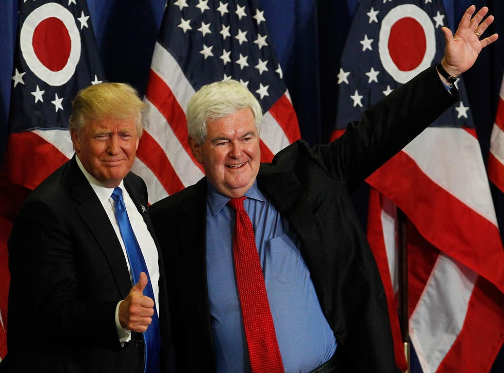 Former Speaker of the House Newt Gingrich introduces Republican Presidential candidate Donald Trump during a rally at the Sharonville Convention Center July 6, 2016, in Cincinnati, Ohio