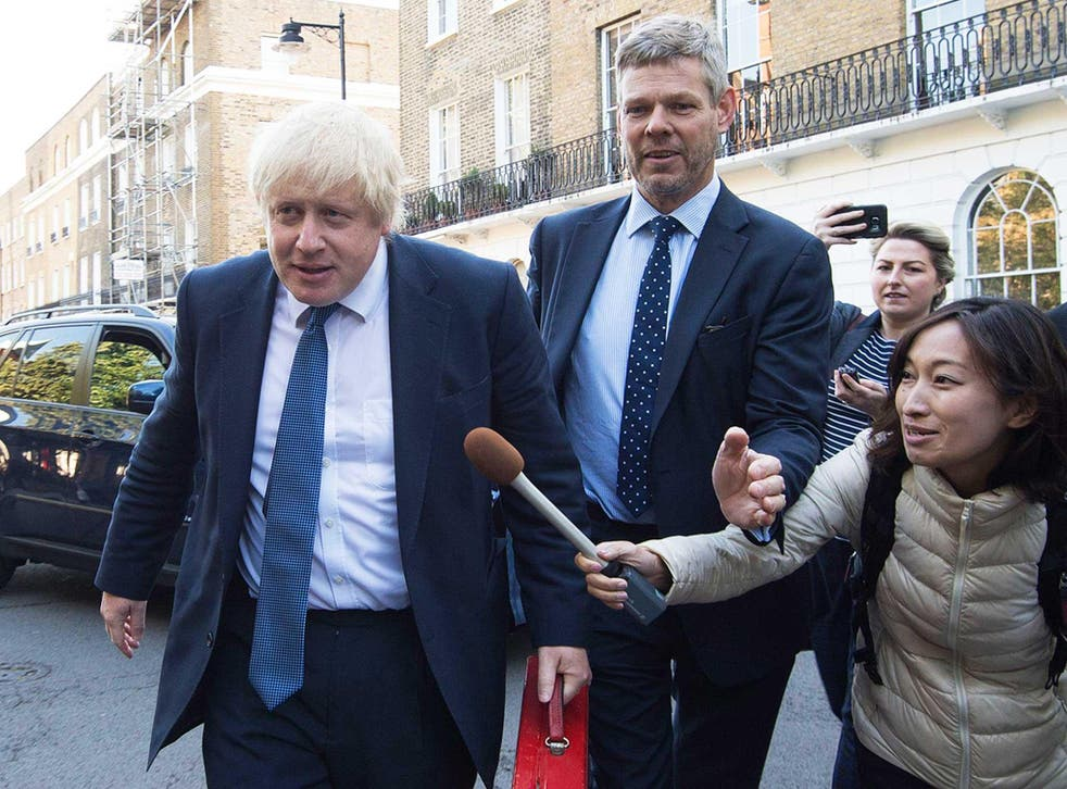 Newly appointed British Foreign Secretary Boris Johnson leaves his home in north London