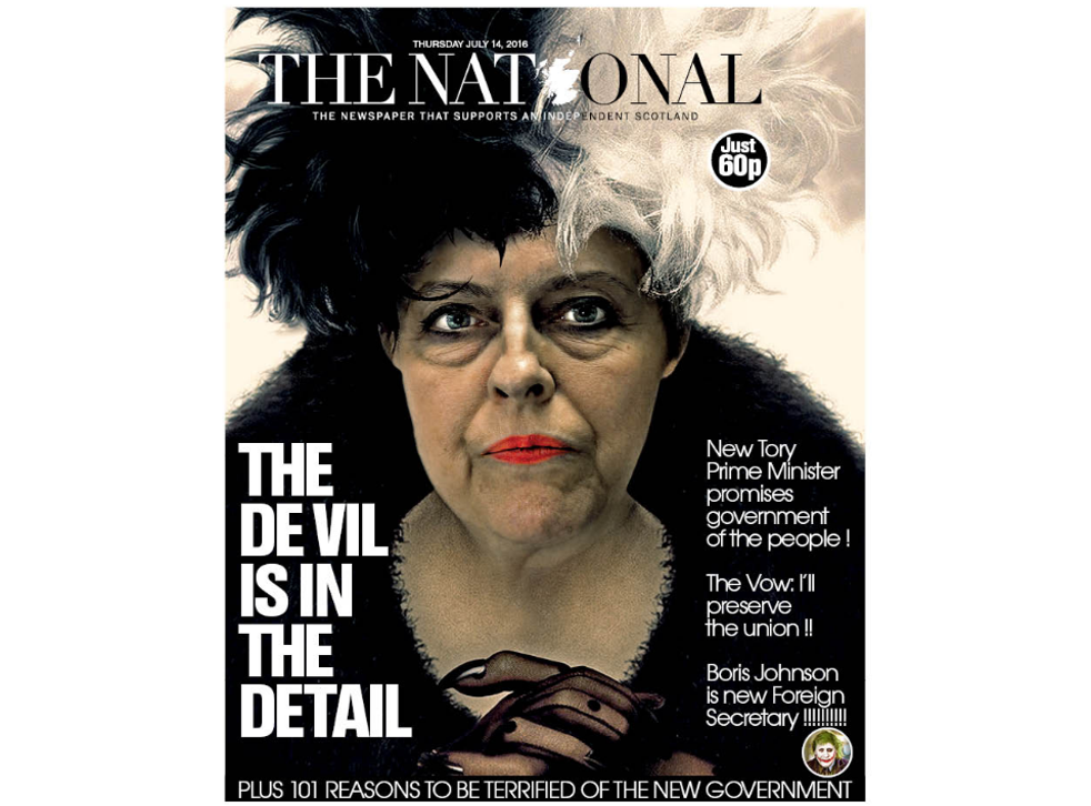 The 14 July 2016 front page of Scottish daily pro-independence newspaper The National