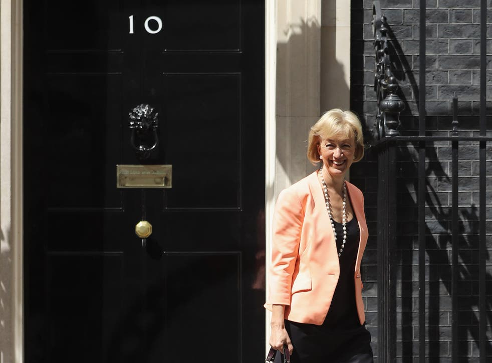 Andrea Leadsom leaves 10 Downing Street where she was appointed Secretary of State for Environment, Food and Rural Affairs