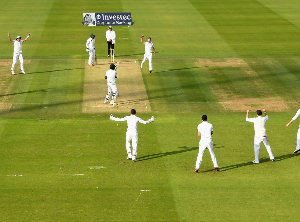Rahat Ali chops on from the final delivery of the day to give Chris Woakes his fourth wicket