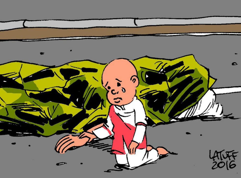 Brazilian political cartoonist Carlos Latuff shared this cartoon in the wake of the Bastille Day terror attack in Nice
