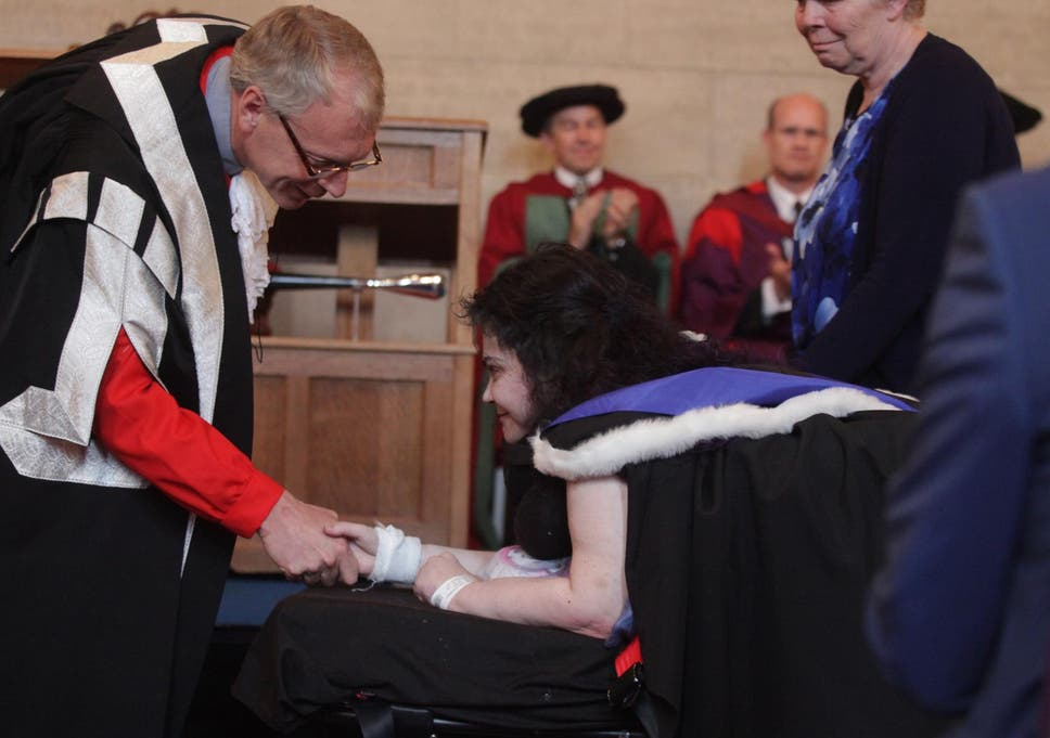 f589efe9663 Newcastle University student Melanie Hartshorn graduates on a stretcher due  to debilitating condition
