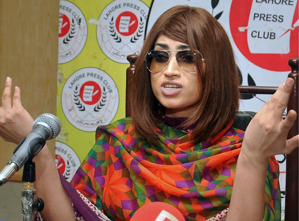 Qandeel Baloch speaks during a press conference in Lahore, Pakistan last month