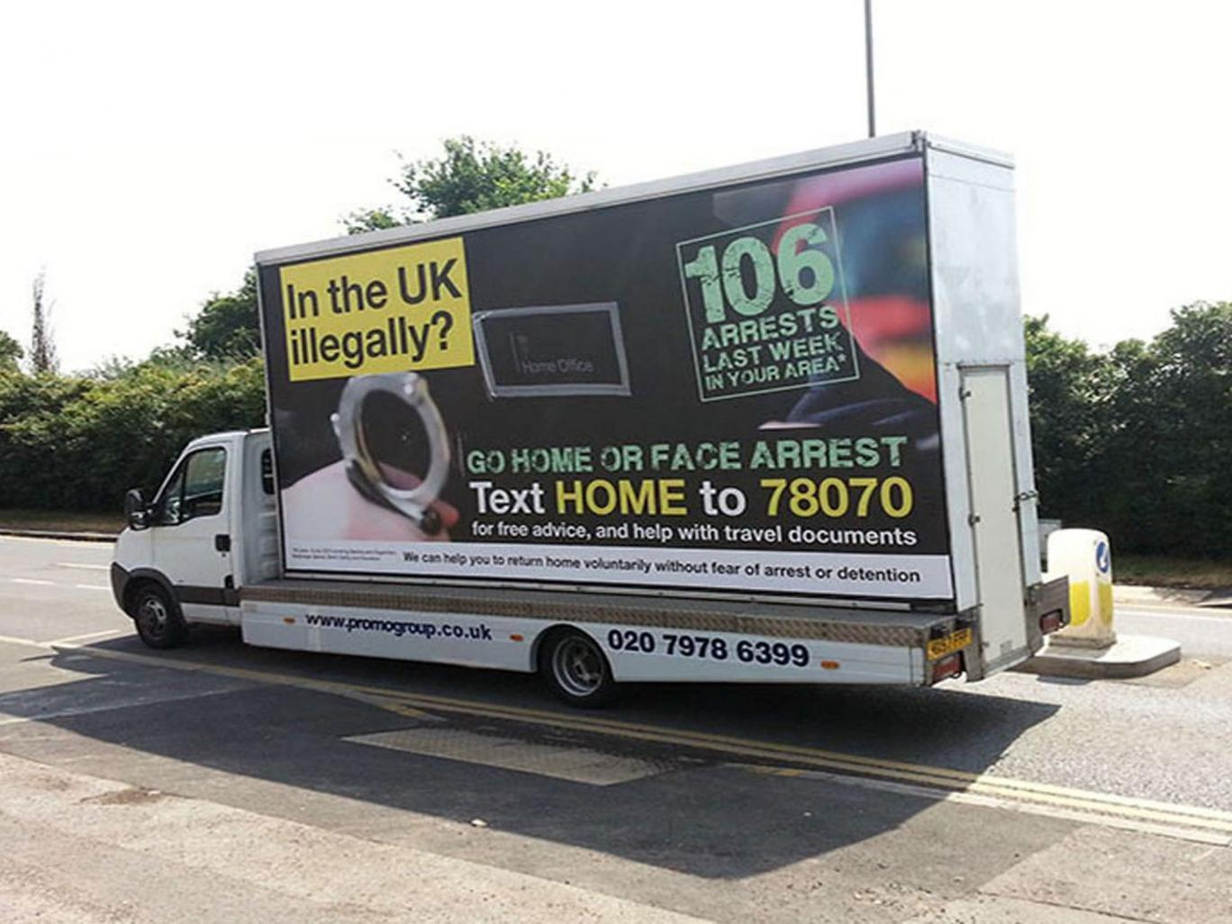 Home Office using 'go home' as example of racist hate crime – despite emblazoning same message on vans