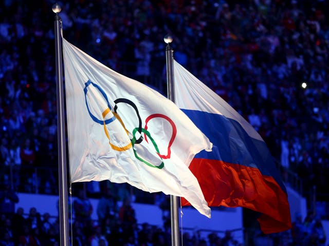Olympic and Russian flags at 2014 Winter Games in Sochi