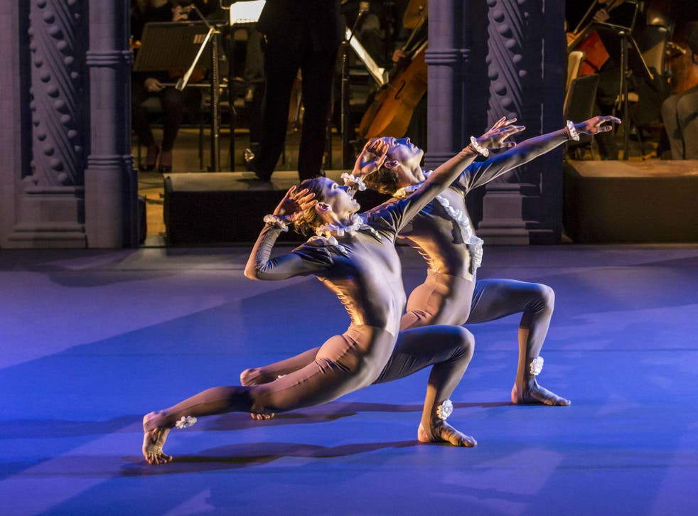 A scene from The Creation, a Garsington Opera and Rambert collaboration, starring Lucy Balfour and Luke Ahmet (dancers), Garsington Opera Orchestra and conductor Douglas Boyd