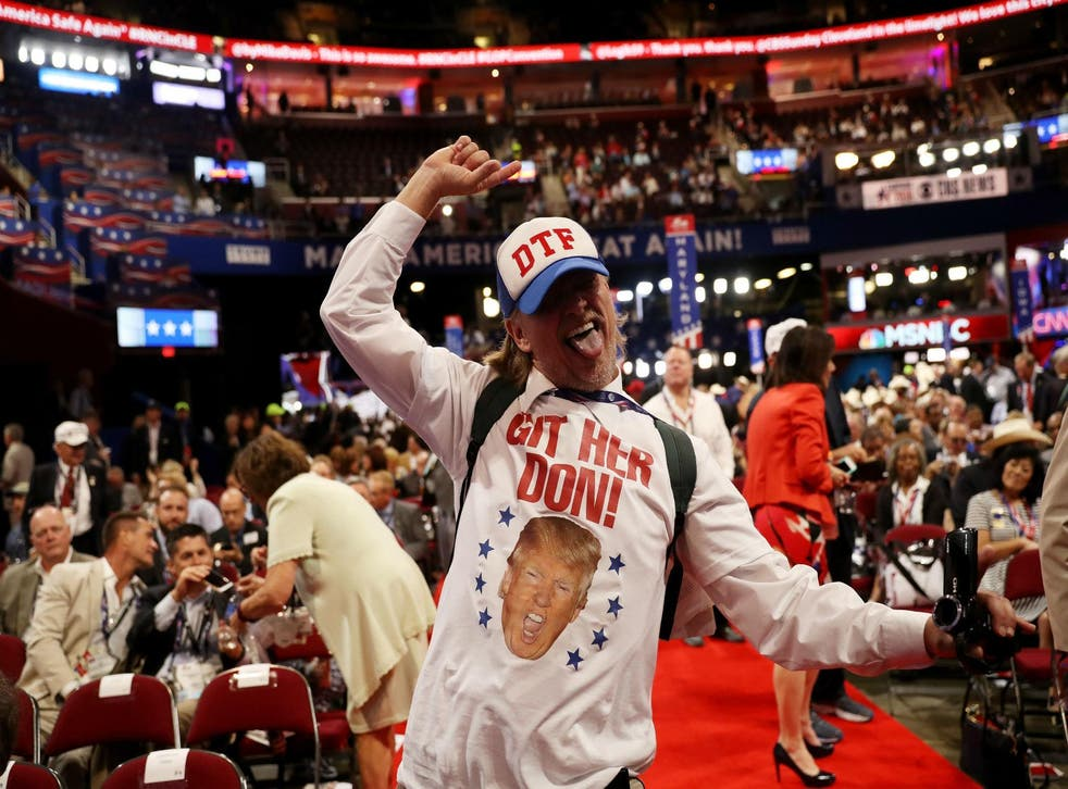 A California delegate dancing on the floor of the GOP convention in Cleveland, before news broke that some of his colleagues had been struck down with the diarrhoea-inducing bug