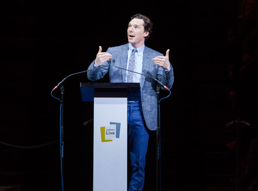 Sherlock actor Benedict Cumberbatch reading out letters at the March Letters Live event