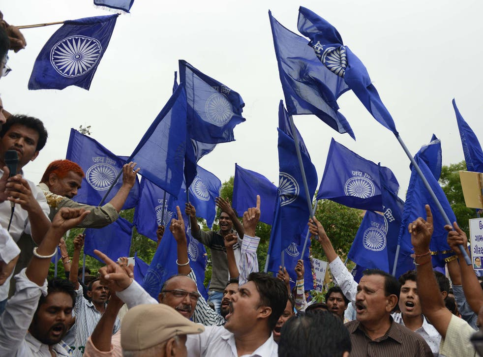Activists protest against an attack on Dalits in Gujarat by suspected cow protection vigilantes.