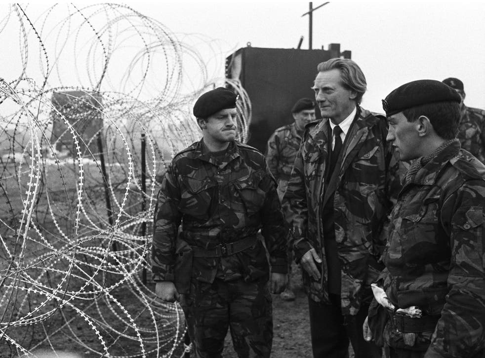 British Minister of Defence Michael Heseltine touring RAF Molesworth in Cambridgeshire, England on February 06, 1985. The night before a large number of soldiers and police had been called in to disband an anti-nuclear peace camp on the site