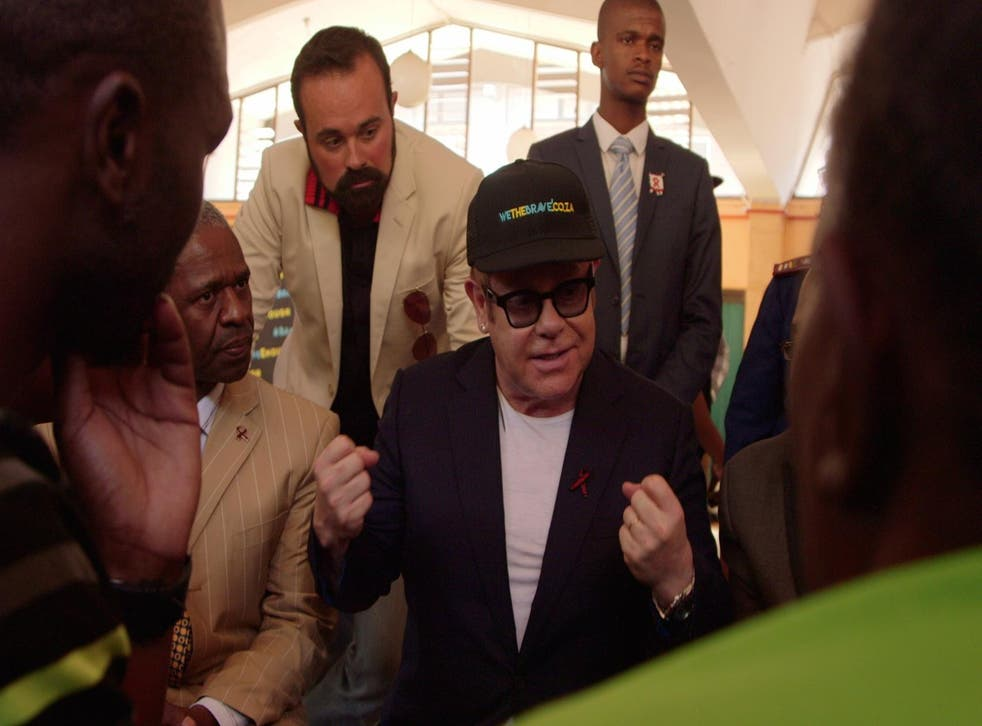Sir Elton John and Evgeny Lebedev visit the Gateway clinic in Umlazi, which is backed by the singer's charitable foundation