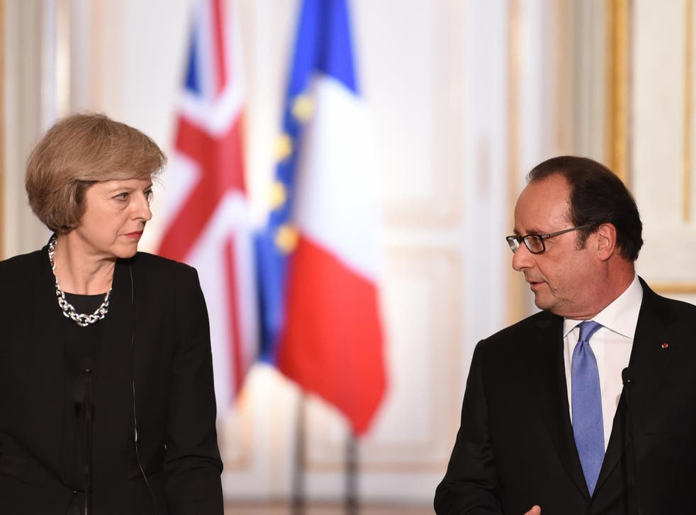 French President Francois Hollande and British Prime Minister Theresa May hold a joint press conference on July 21, 2016