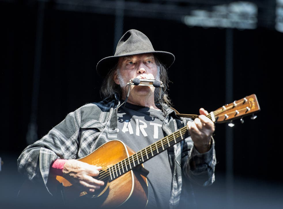 Neil Young in concert in Sweden on 5 July, 2016