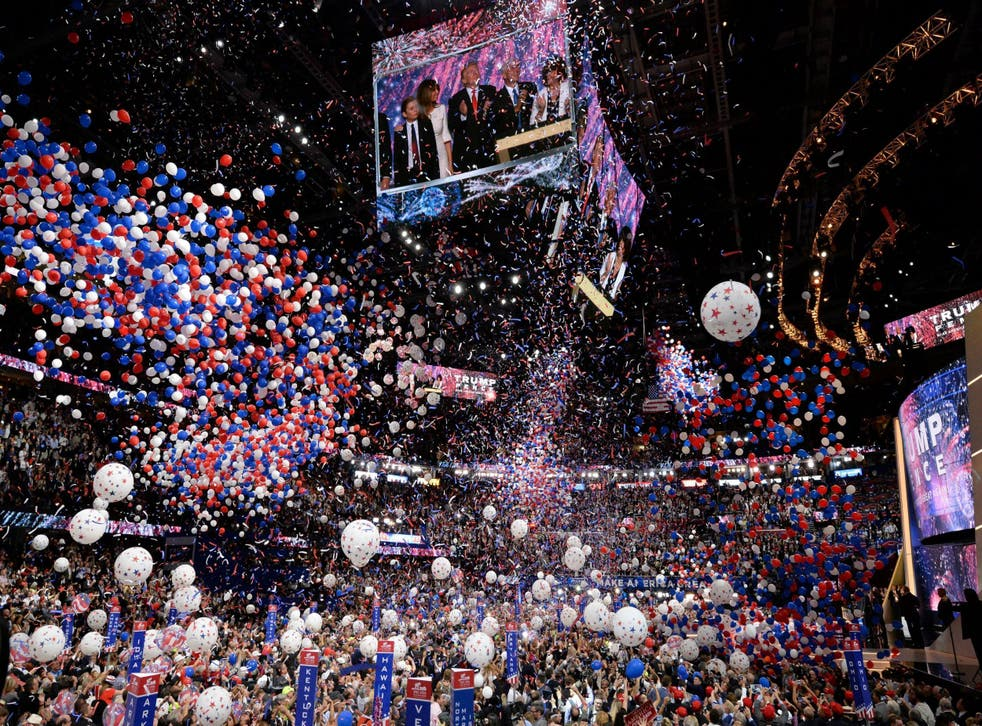 Balloons fall at the end of Donald Trump's acceptance speech