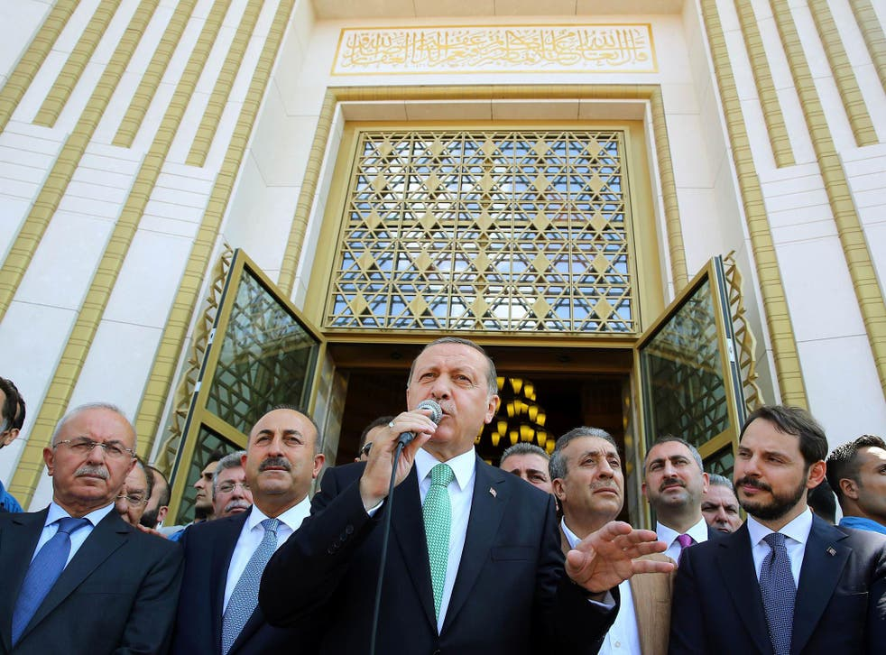 Recep Tayyip Erdogan delivering a speech after the Friday prayer at the Bestepe Millet Mosque in Ankara, on Friday
