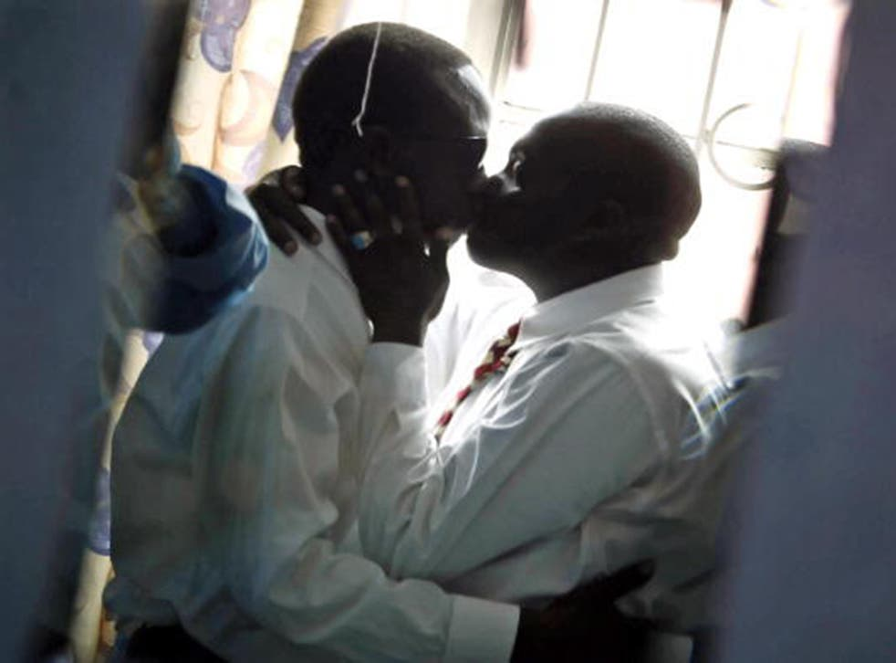 Two men kiss in Kenya, another country in east Africa where homosexuality is illegal