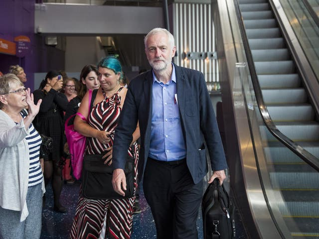Jeremy Corbyn yesterday leaving a rally at the Lowry in Salford, Manchester