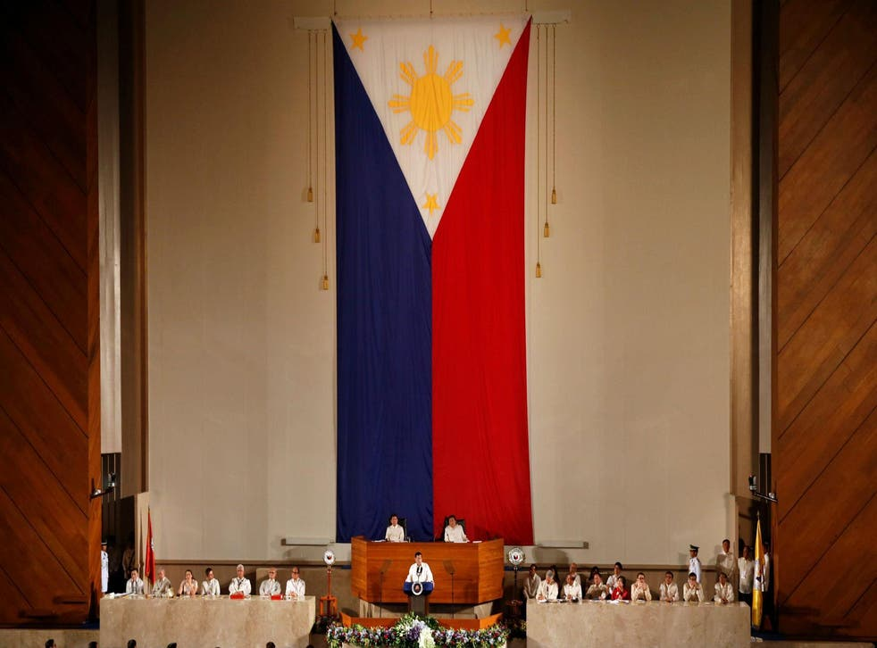 Philippines president Rodrigo Duterte delivers his first State of the Nation Address at the country's Congress in Manila on Monday