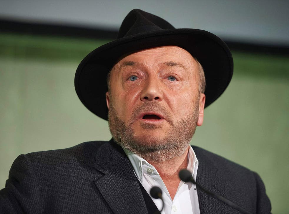 George Galloway said he was feeling unwell after having the substance thrown over him