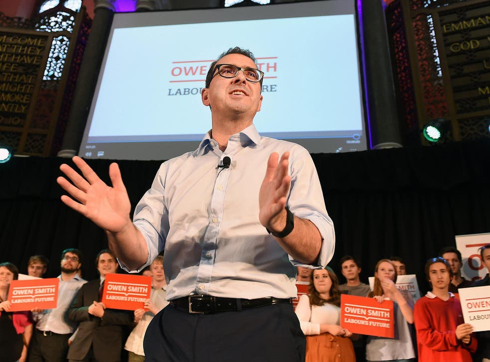 Owen Smith speaks during a campaign rally in London, yesterday