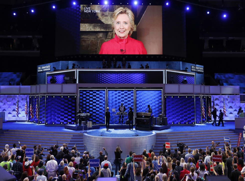 Hillary Clinton crashes the party by video link