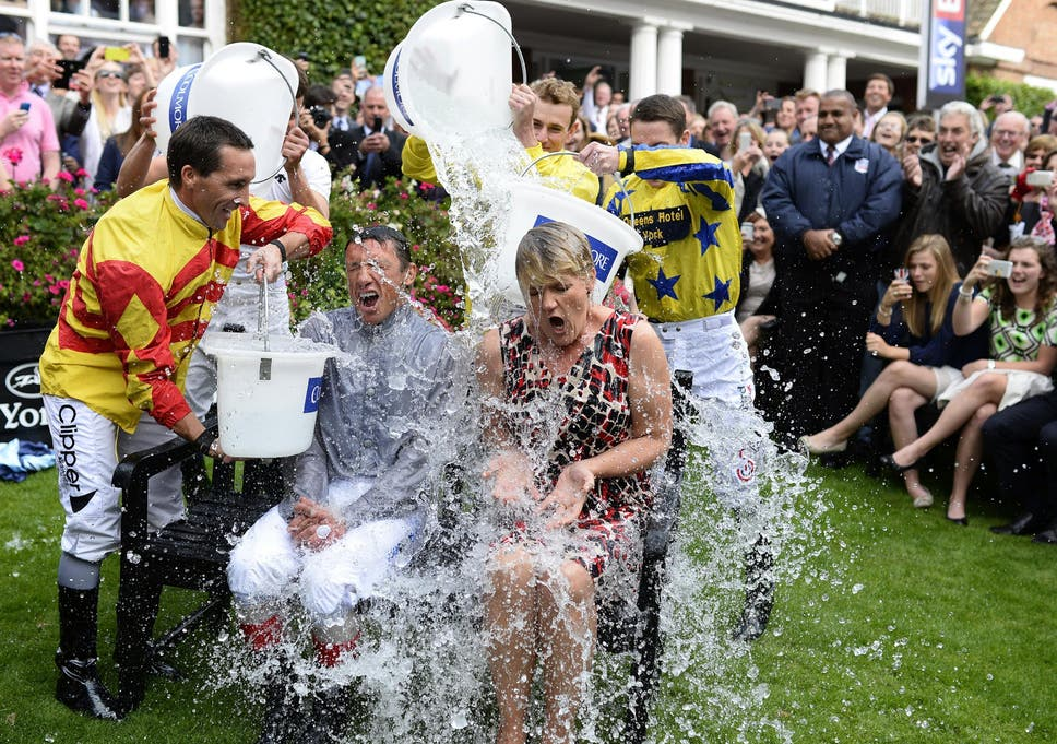 6f763d985ef3 Frankie Dettori and Clare Balding take part in the  Ice Bucket Challenge   at York