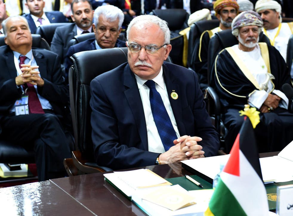 Riyad al-Maliki, the Palestinian foreign minister, delivered the speech on Mahmoud Abbas' behalf during the Arab League summit in Nouakchott, Mauritania, 25 July 2016.