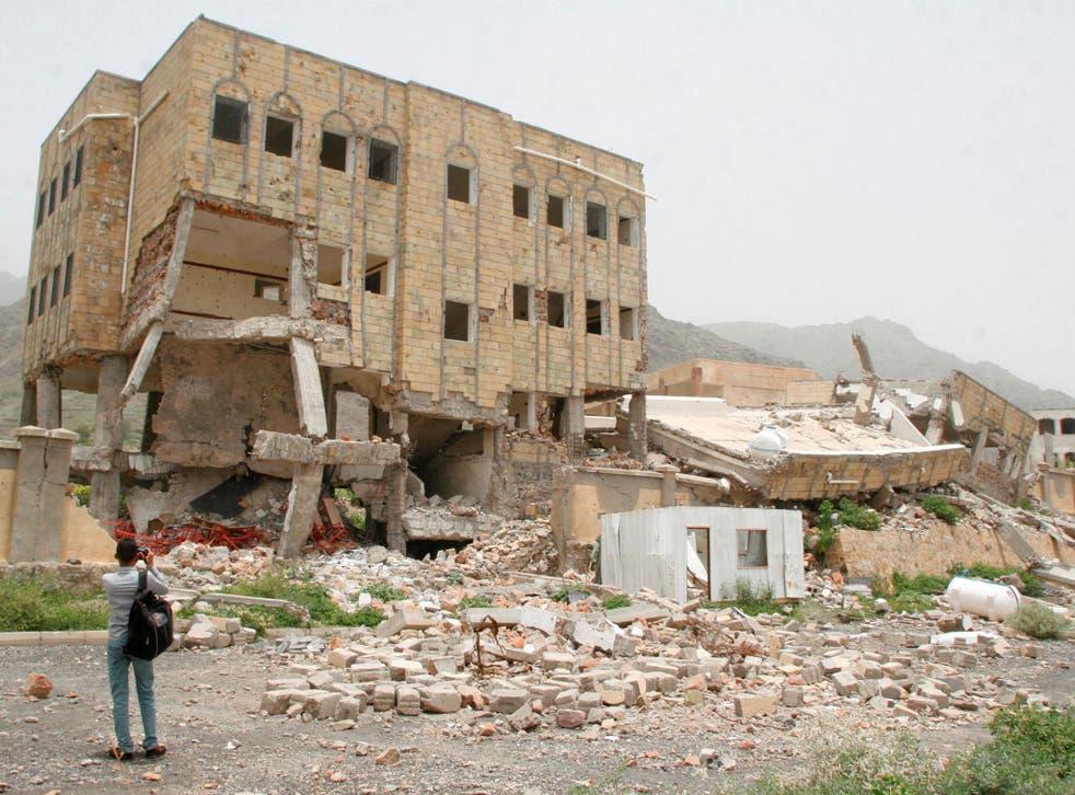 A school destroyed by a Saudi-led air strike in the southwestern city of Taiz, Yemen