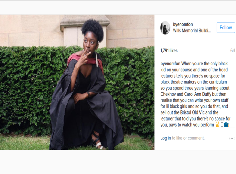 The student's post, pictured, has been widely-praised online