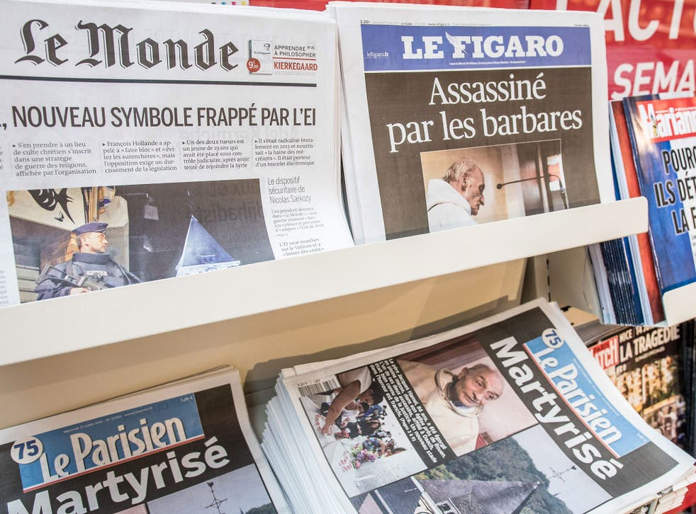 French newspaper front pages on the Normandy church attack on 27 July 2016