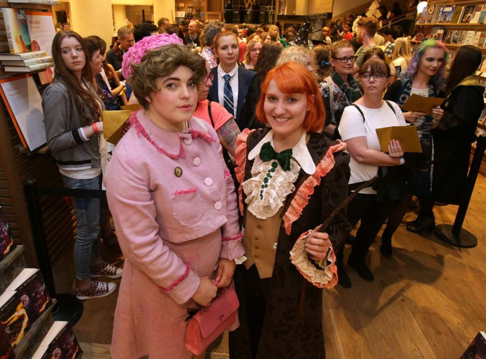 Harry Potter fans, Fran Plagge (R) and Lottie (L) will be first and second to receive the new Harry Potter script book inside Waterstones bookshop on Piccadilly in central London