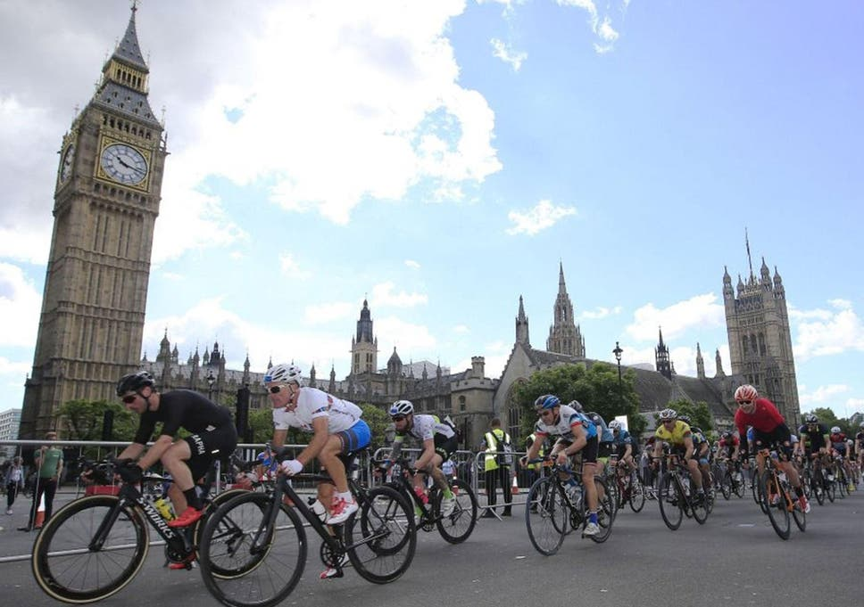 Cyclists pass the Palace of Westminster in the latter stages of the  Prudential Ride 100 08a13caa6