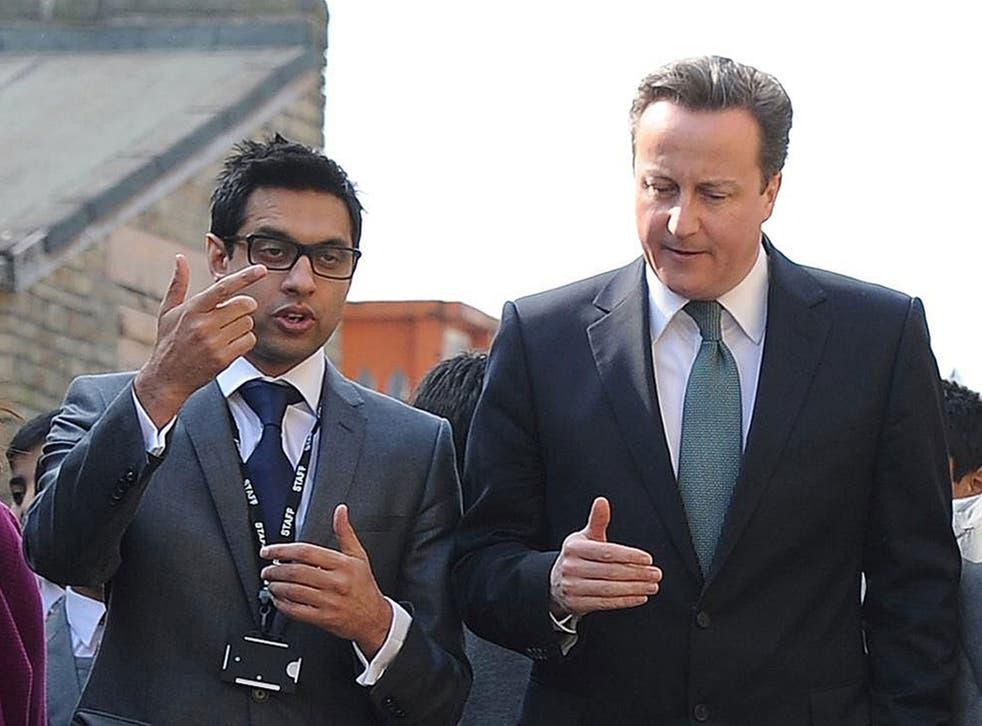 Former Prime Minister David Cameron meeting headteacher Sajid Hussain from Kings Science Academy, Bradford