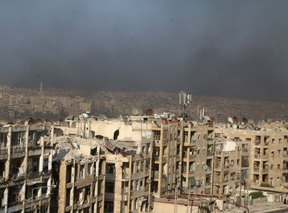 A general view shows rising smoke from burning tyres in Aleppo, Syria  August 1, 2016
