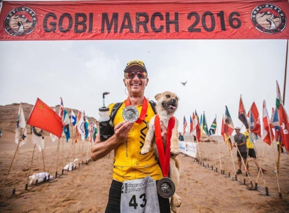Mr Leonard hopes to be reunited with the dog who ran with him during the 250 kilometre race in the Gobi desert