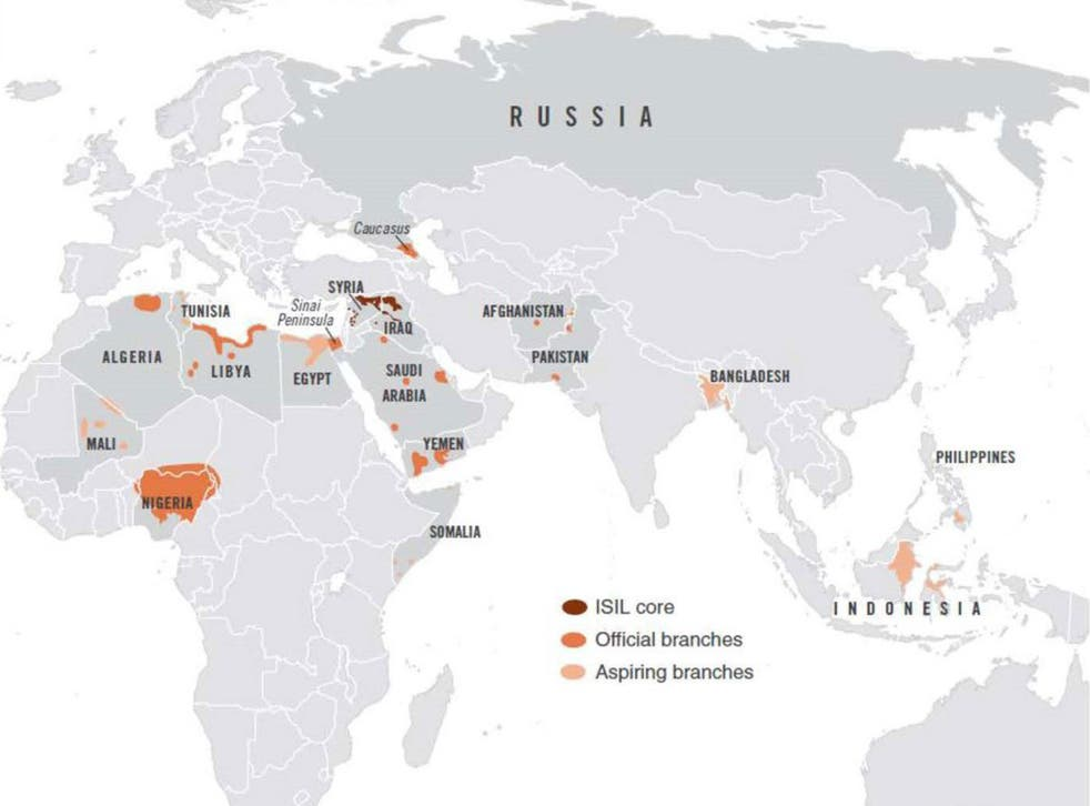 Counterterrorism heat map shows active Isis branches in 18 countries