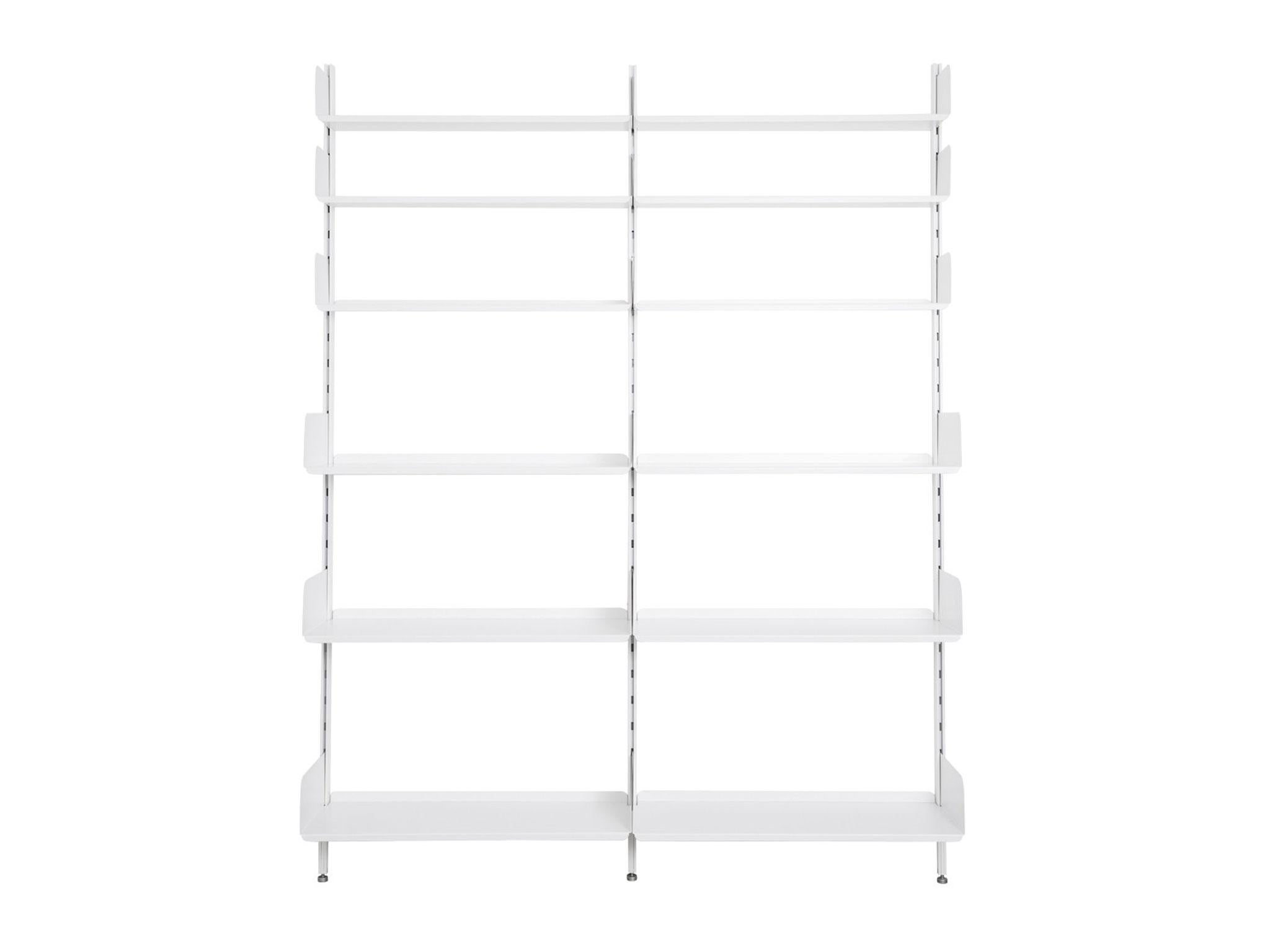 Best For Bookcases And Wardrobes This System Is Made Of Aluminium Uprights Wood Shelves Treated With A Smooth White Lacquer The Have Holes To